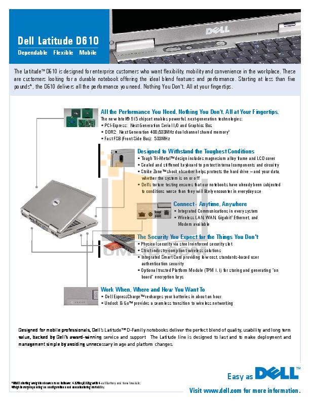 download free pdf for dell latitude d610 laptop manual rh umlib com dell latitude d610 user manual dell latitude d610 repair manual