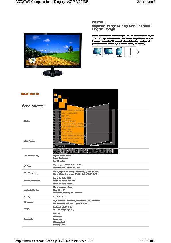 pdf for Asus Monitor VS228H manual