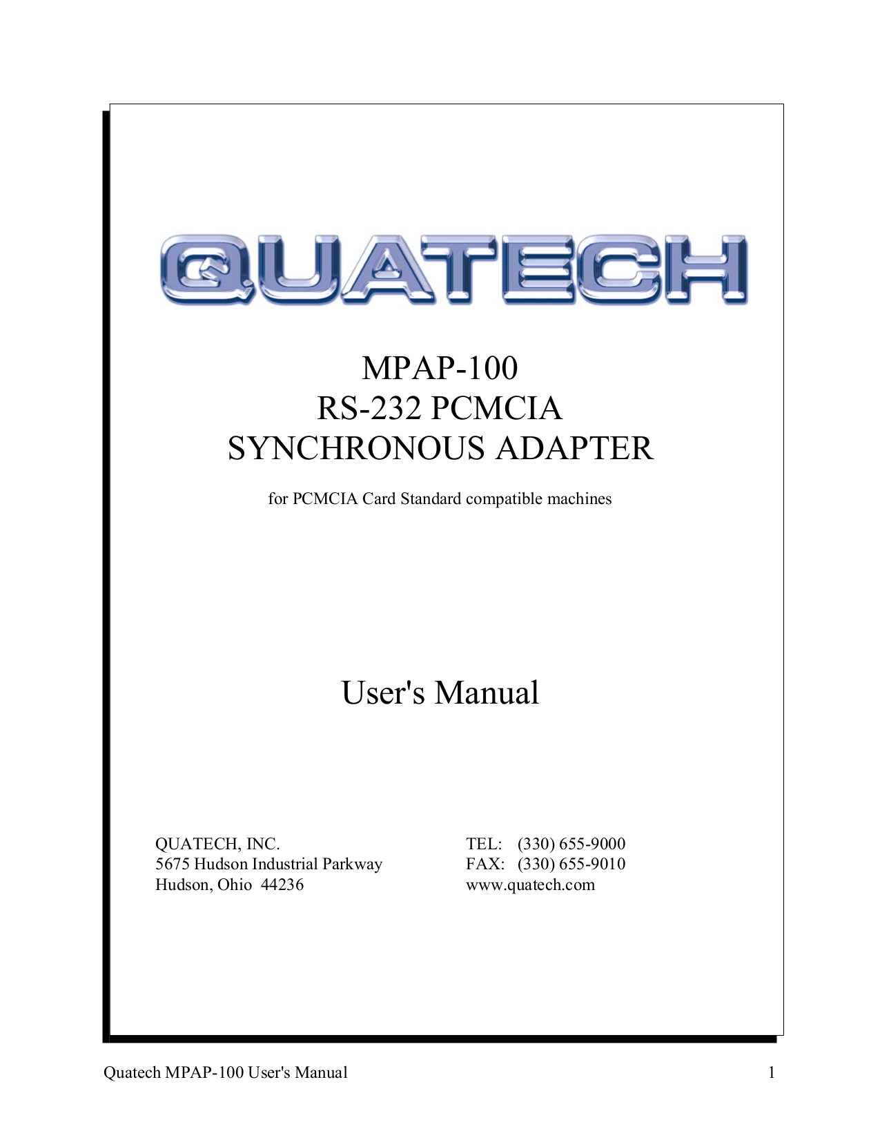 pdf for Quatech Other MPAP-100 PCMCIA Cards manual