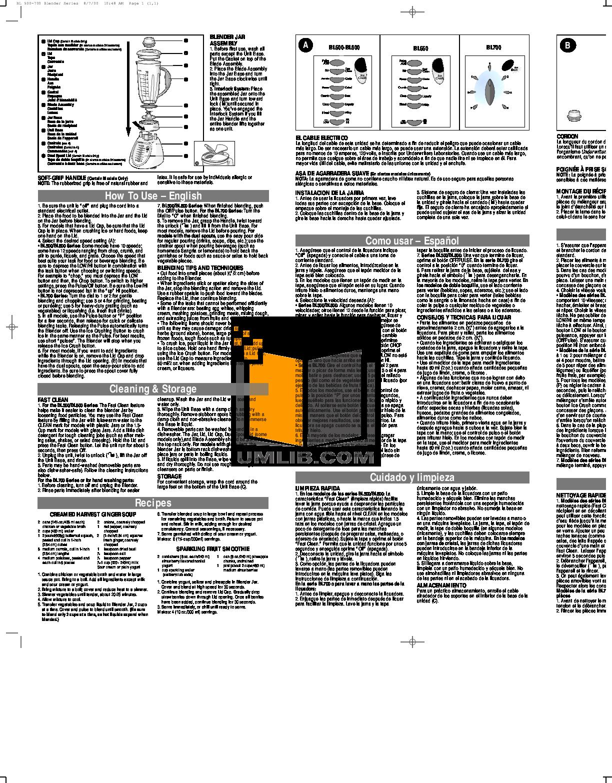 pdf for BlackAndDecker Blender BL500 manual