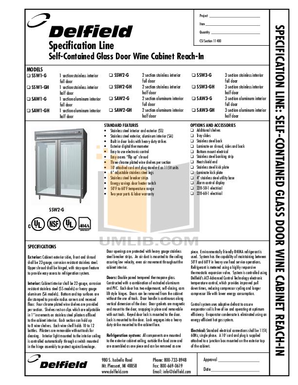 pdf for Delfield Refrigerator SAW2-G manual