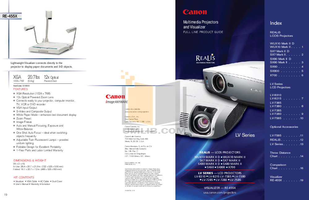 pdf for Canon Projector LV-8215 manual