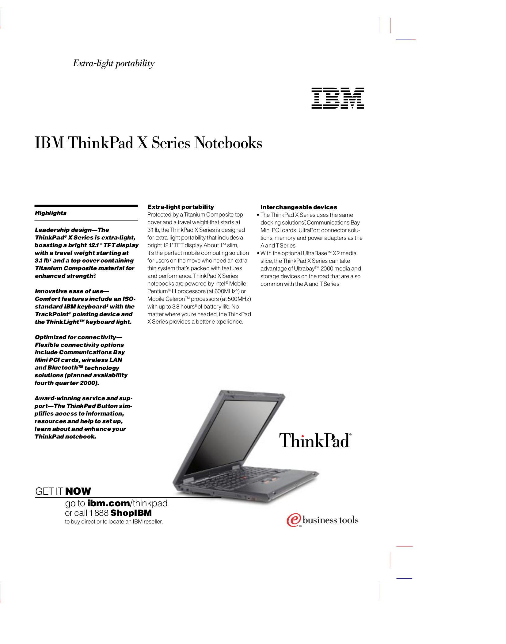 pdf for IBM Laptop ThinkPad X20 manual