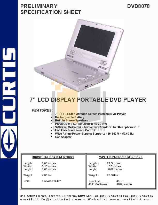 pdf for Curtis Portable DVD Player DVD8078 manual