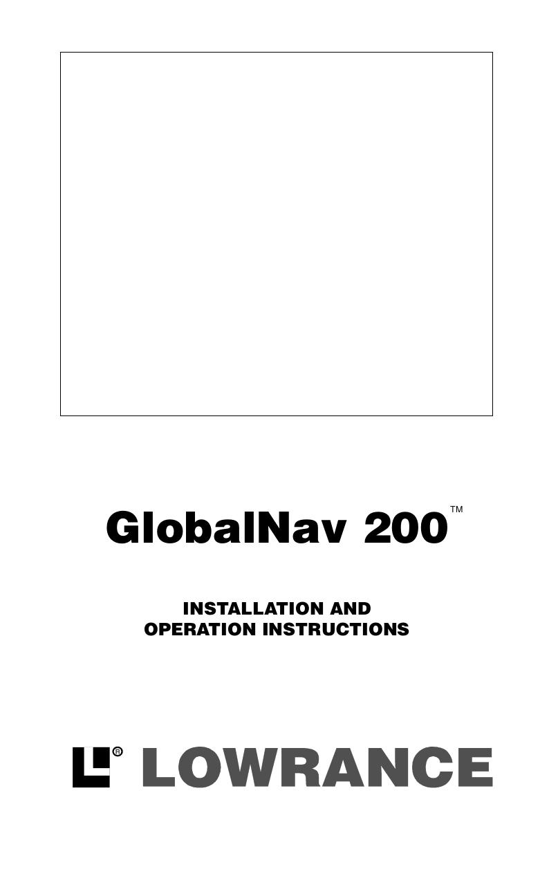 pdf for Lowrance GPS GlobalNav GlobalNav manual