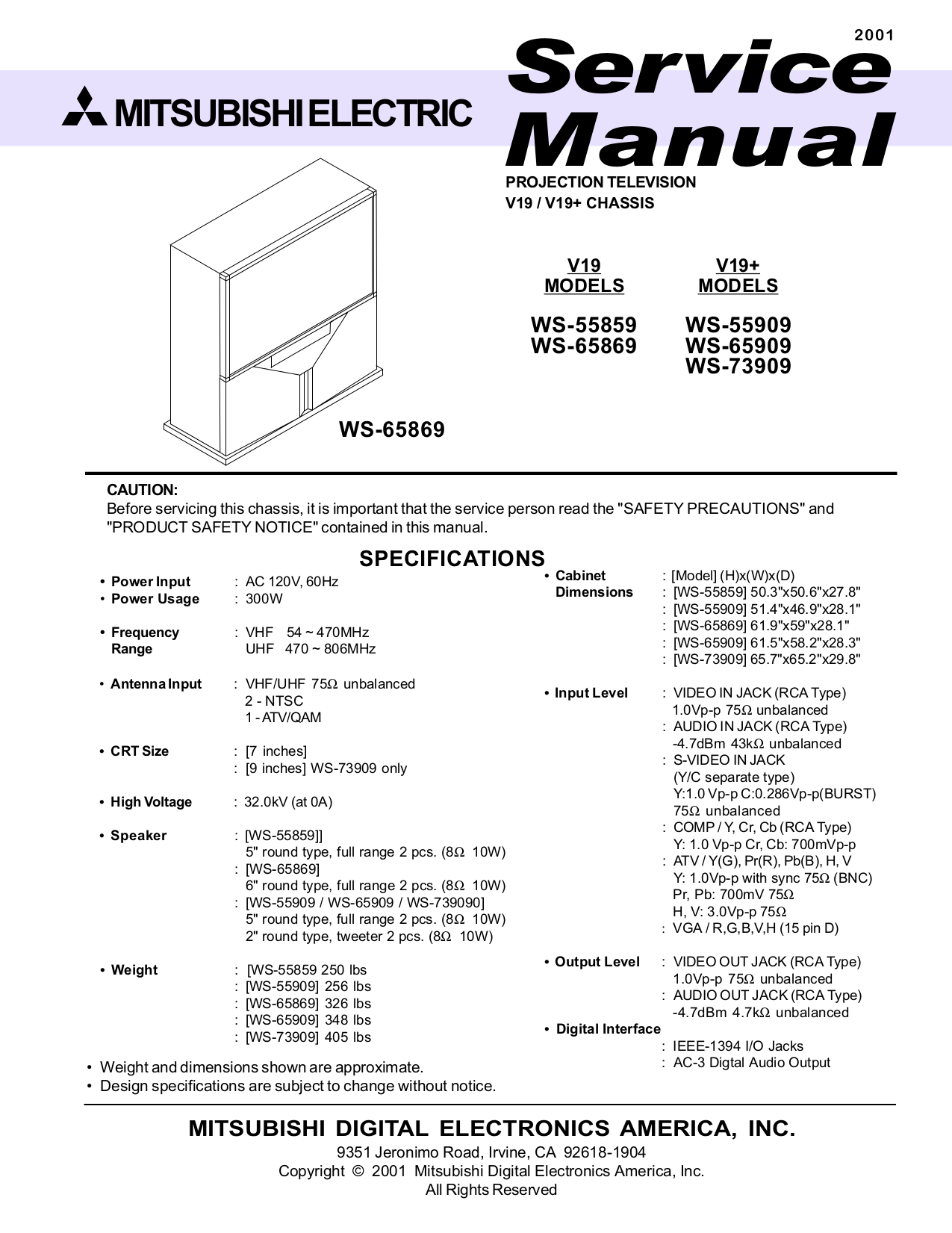 pdf for Mitsubishi TV WS-55859 manual