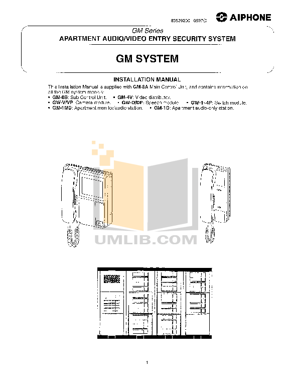 pdf for Aiphone Other MP-3S Intercoms manual