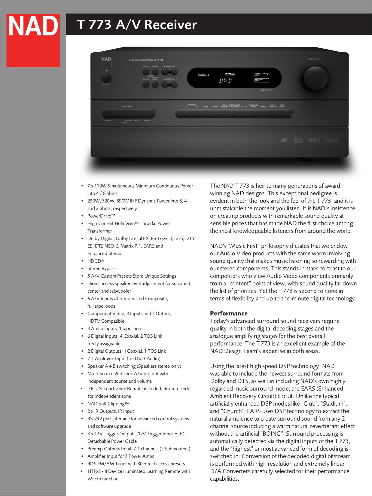 download free pdf for nad t773 receiver manual rh umlib com nad t 773 service manual pdf nad t 773 service manual