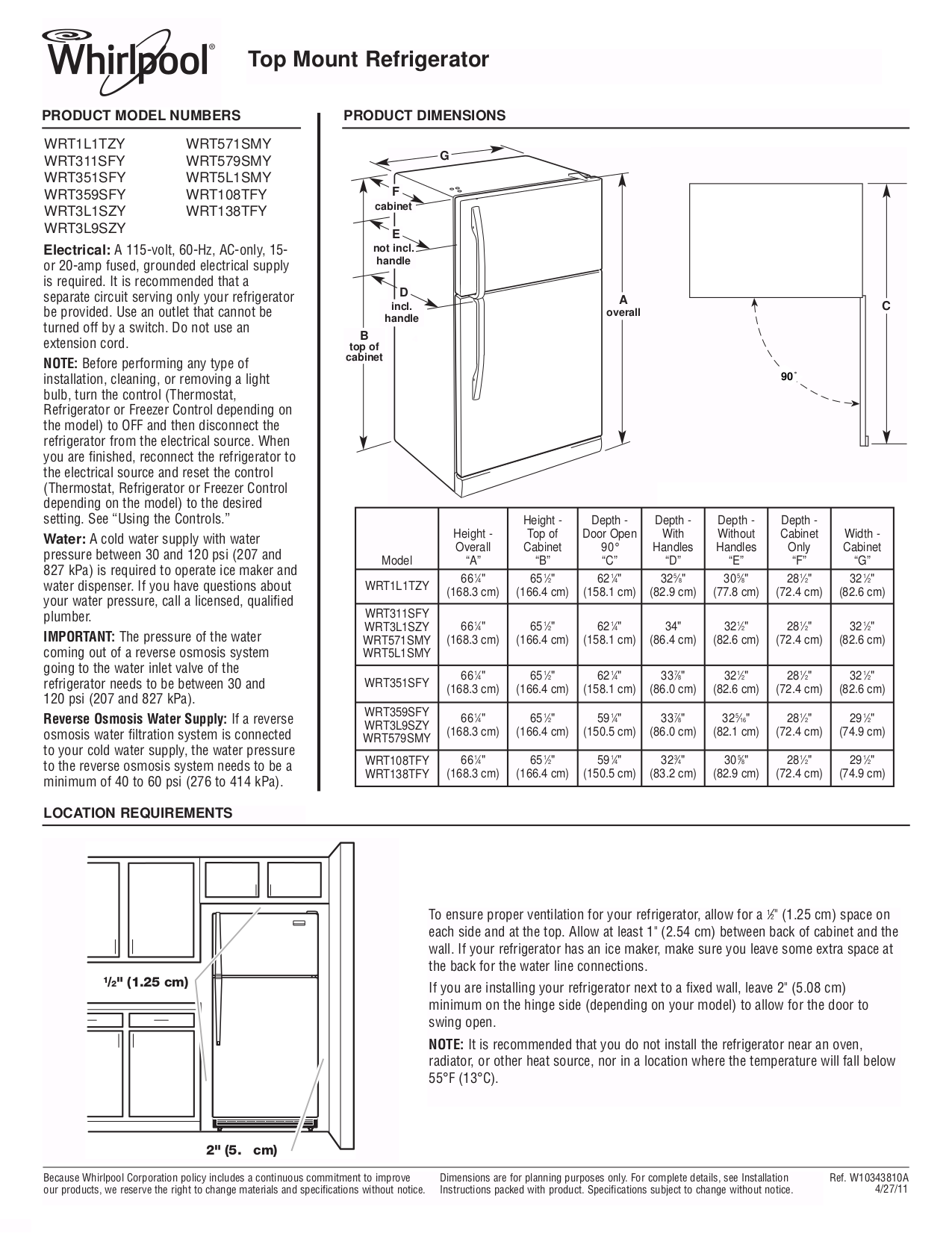 whirlpool refrigerator installation guide free download