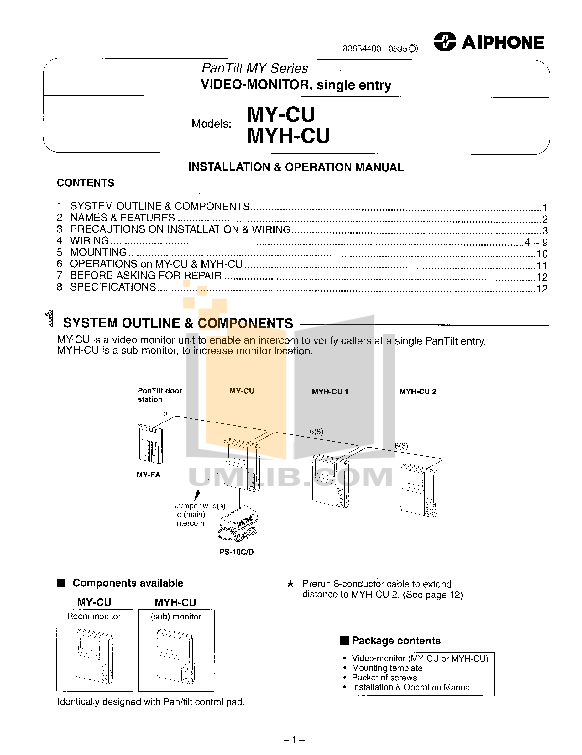 pdf for Aiphone Other MY-DS Intercoms manual