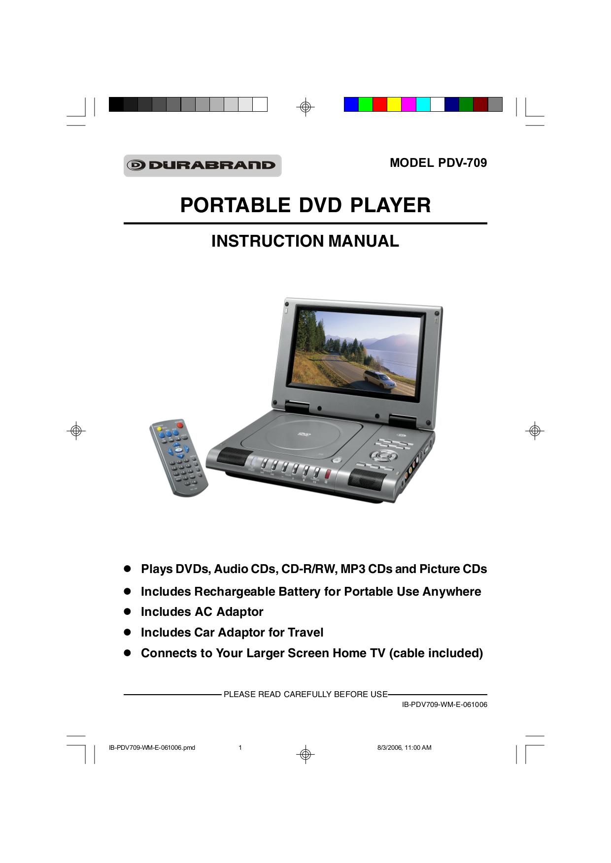 pdf for Lenoxx Portable DVD Player PDV-709 manual