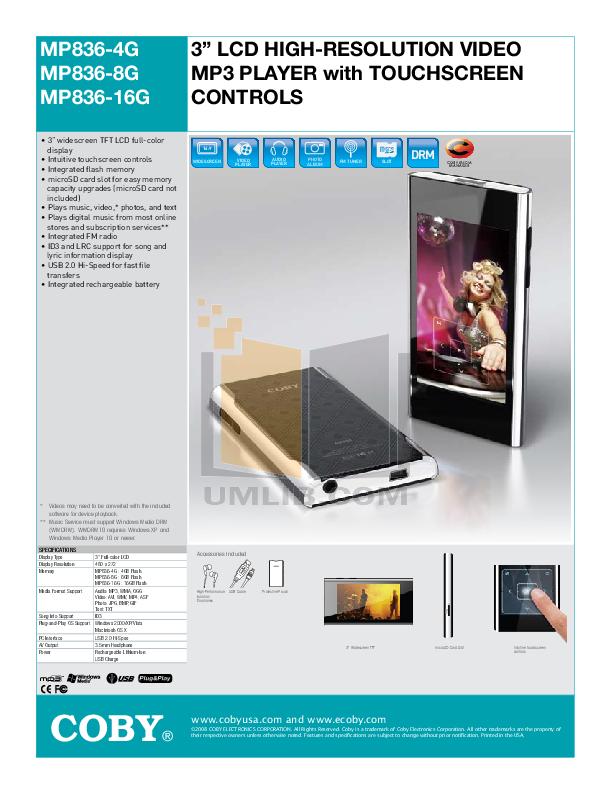 download free pdf for coby mp 836 4gb mp3 player manual rh umlib com