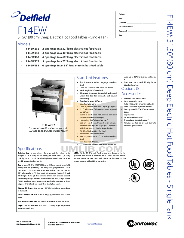 pdf for Delfield Other F14EW460 Hot Food Table manual