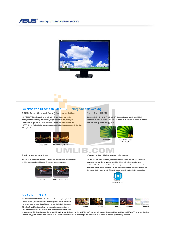 pdf for Asus Monitor VE248H manual