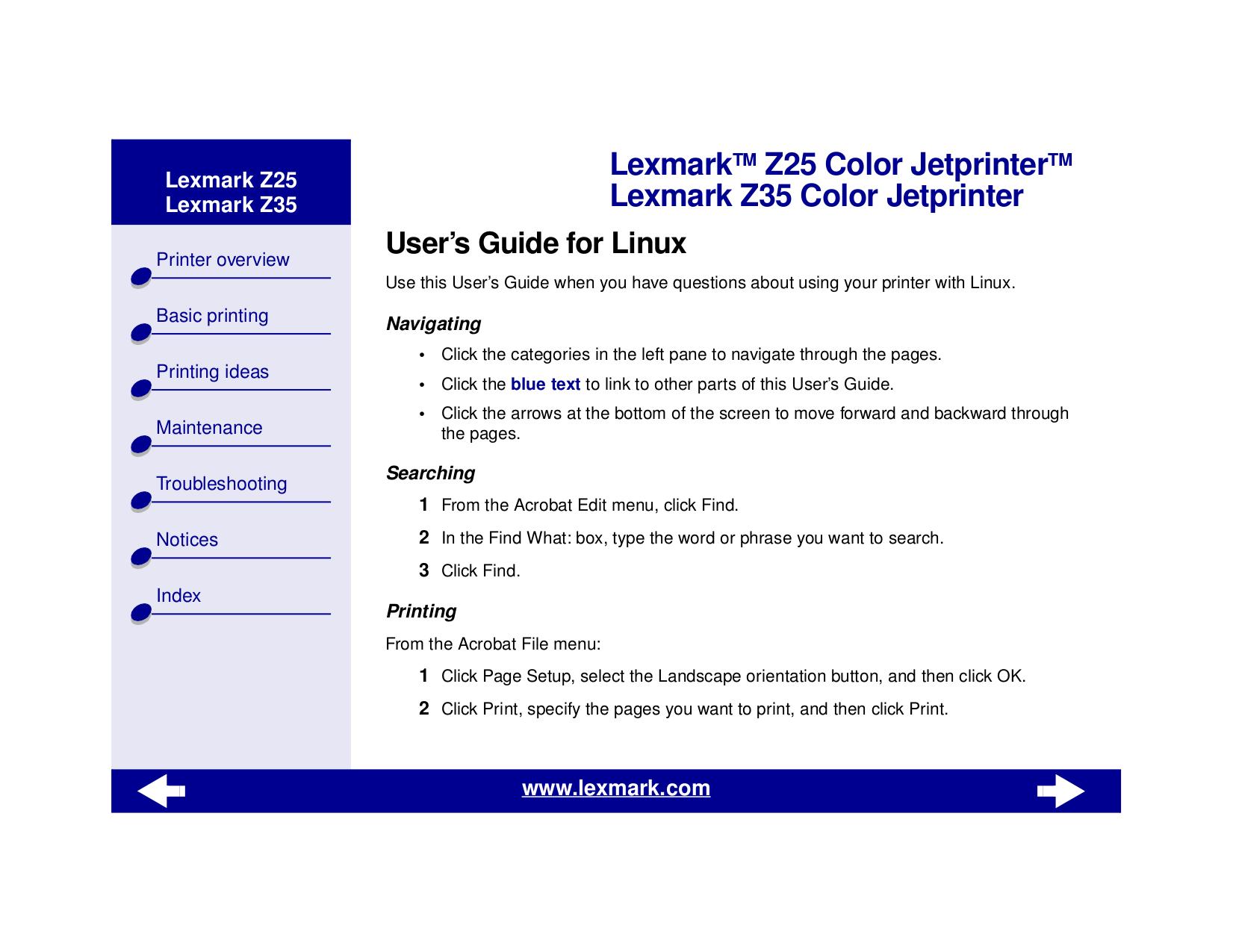 pdf for Lexmark Printer Z35 manual