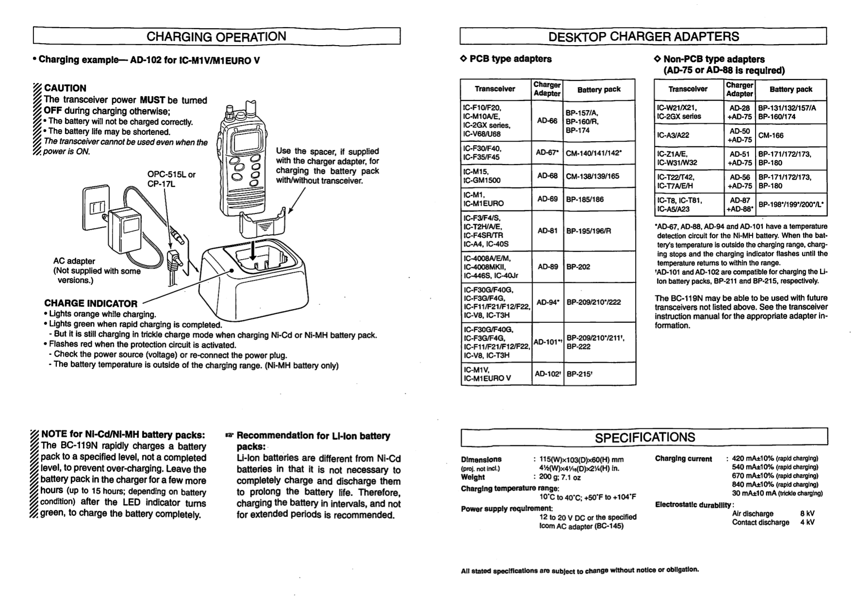 PDF manual for ICOM 2-way Radio IC-A3