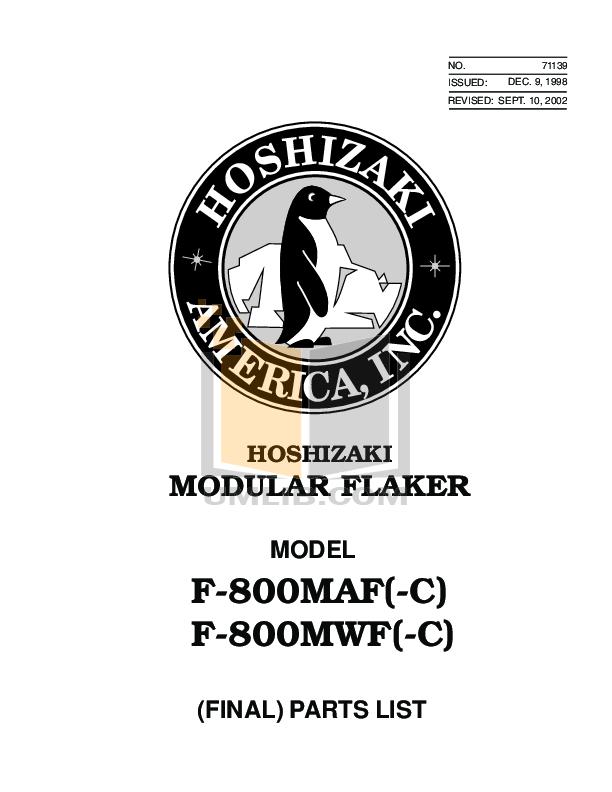 pdf for Hoshizaki Other F-800MAF Modular Flakers manual