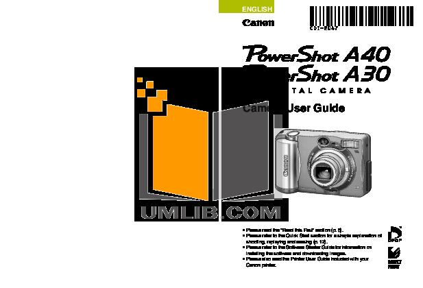 download free pdf for canon powershot a40 digital camera manual rh umlib com canon a400 manual Canon T3i Manual