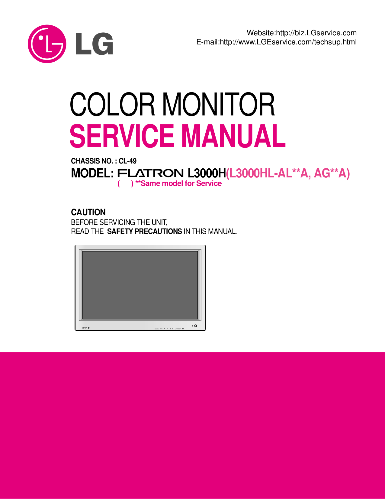 pdf for LG Monitor L3000H manual