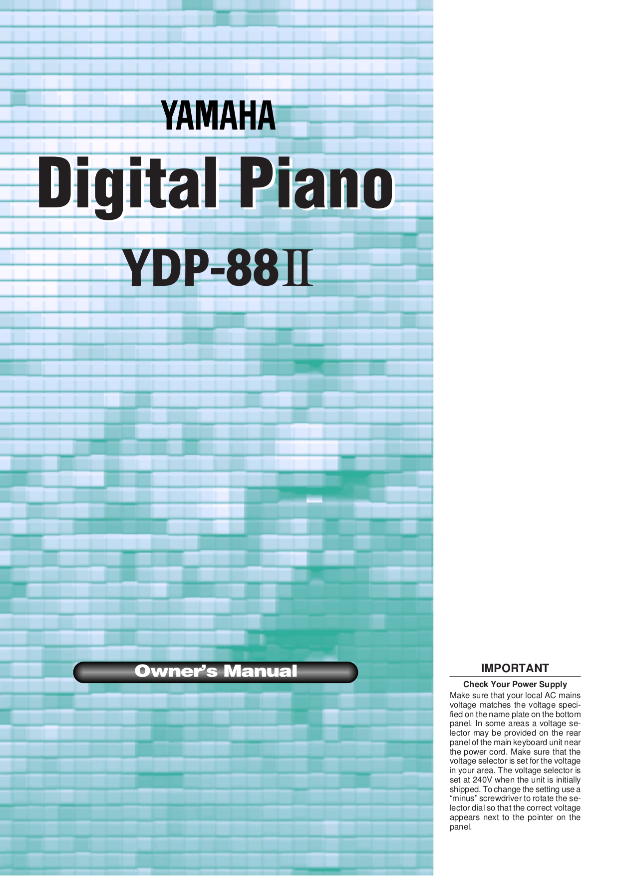 pdf for Yamaha Music Keyboard YDP-88II manual