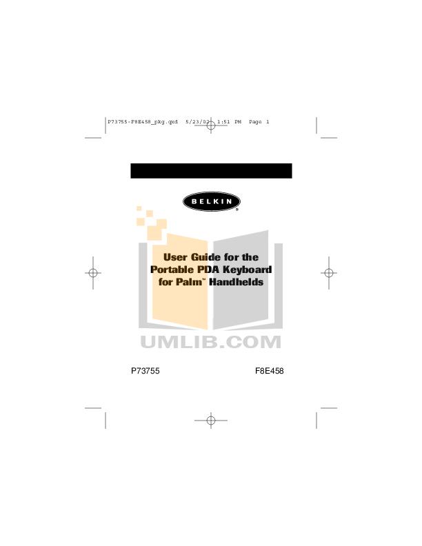 pdf for Belkin Keyboard F8E458 manual