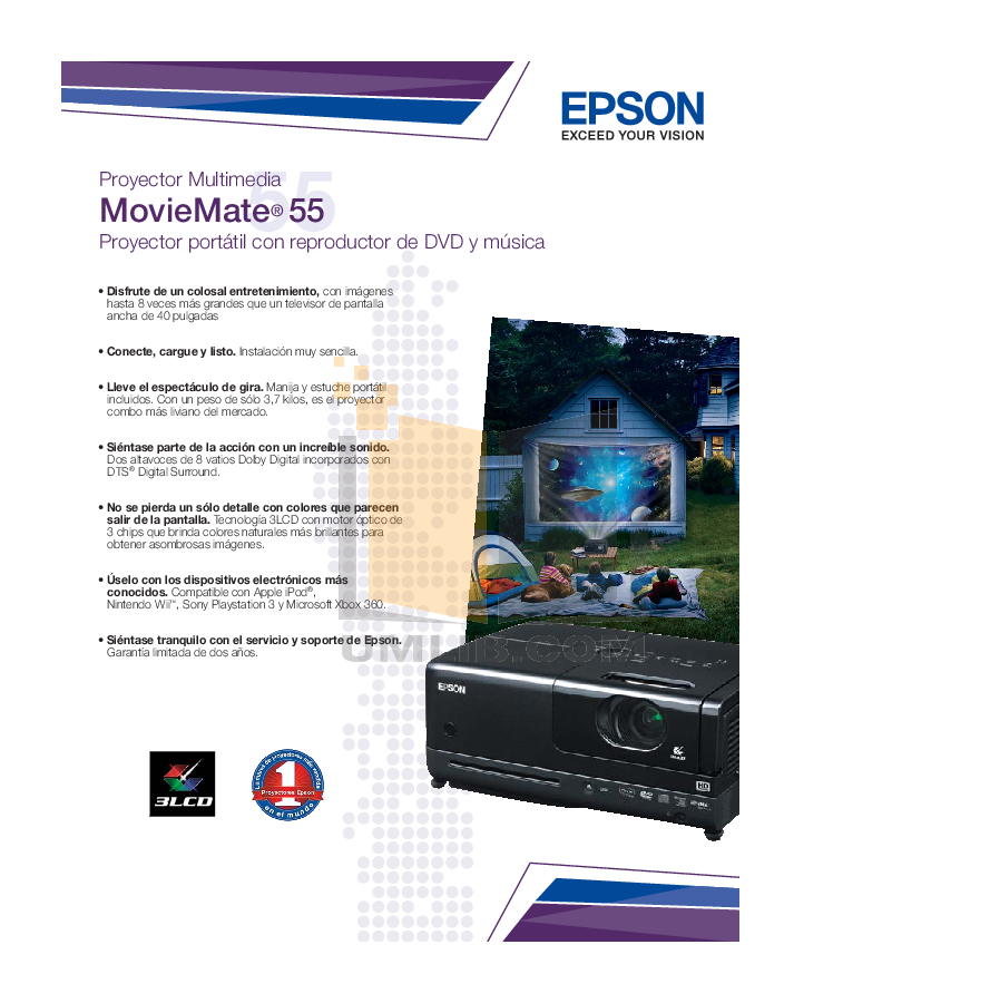 pdf for Epson Projector MovieMate 55 manual