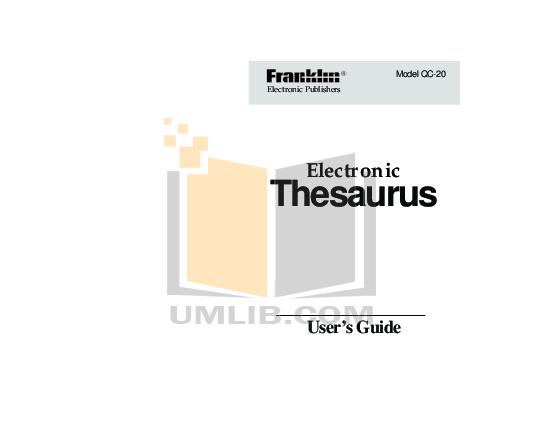 pdf for Franklin PDA QC-20 manual