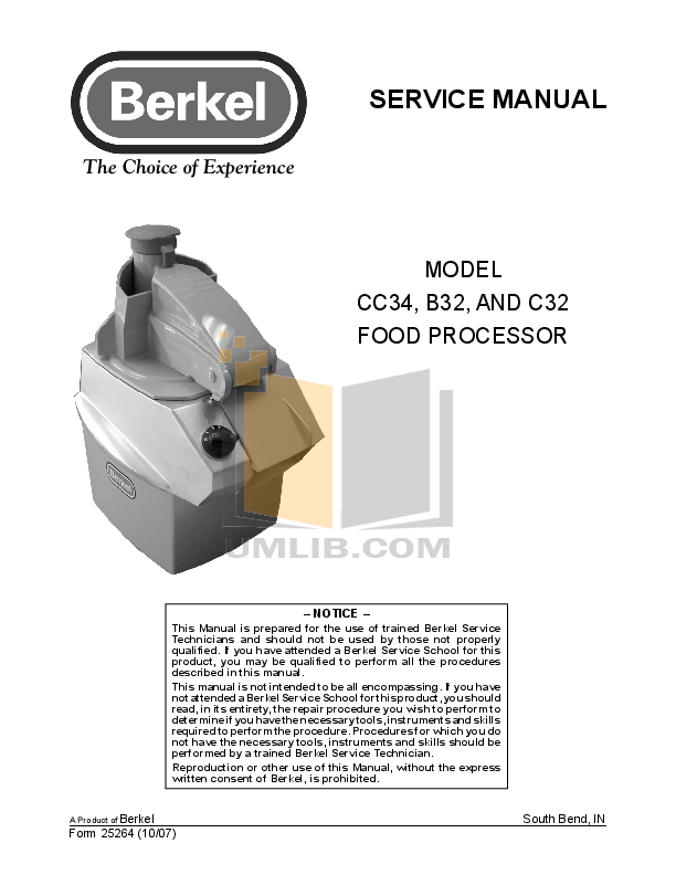 pdf for Berkel Food Processor B32 manual