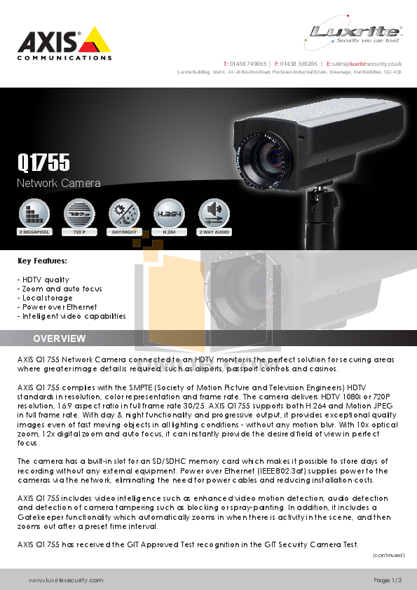 pdf for Axis Security Camera Q1755 manual