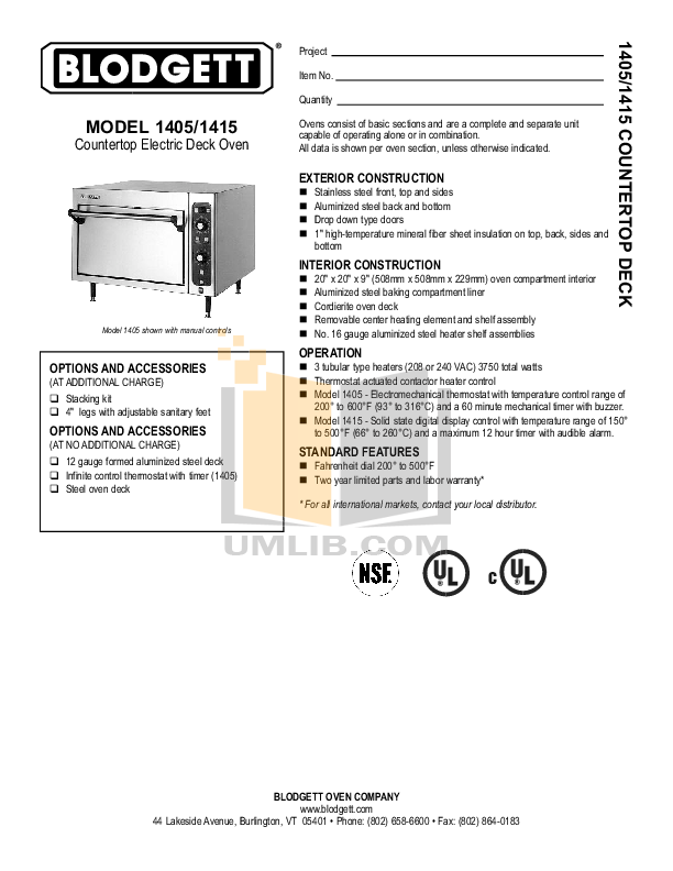 pdf for Blodgett Oven 1415 BASE manual