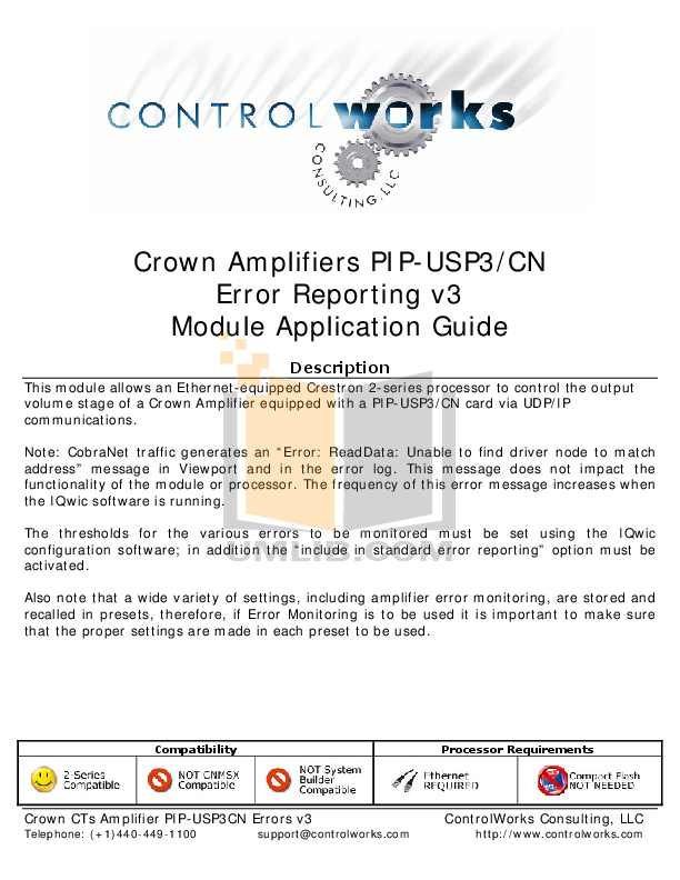 pdf for Crown Other PIP-USP3 Programmable Input Processors manual
