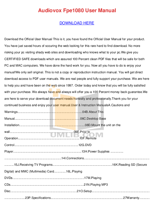 pdf for Audiovox TV FPE1080 manual