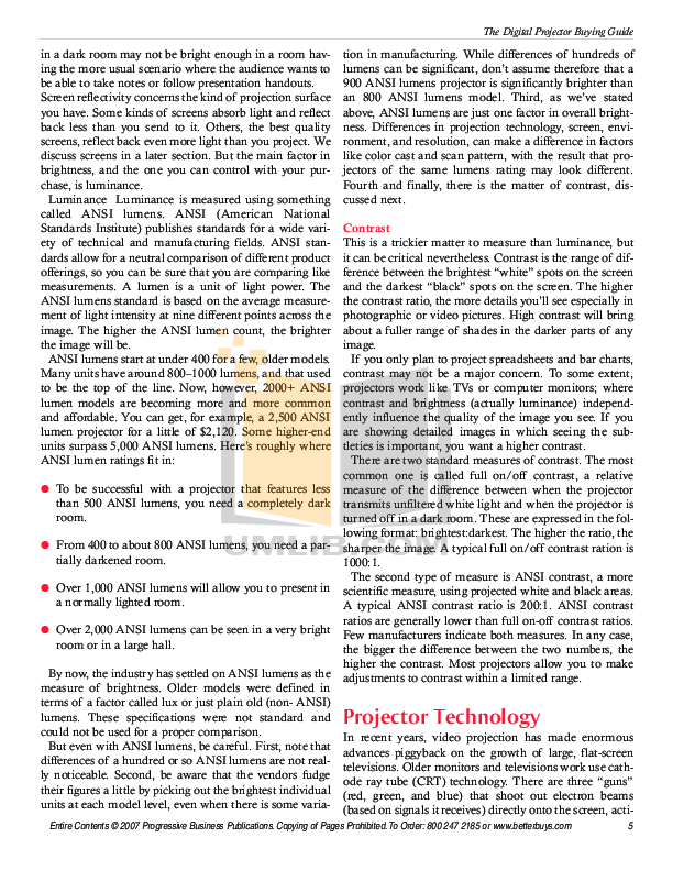 Epson Projector PowerLite 5000 pdf page preview