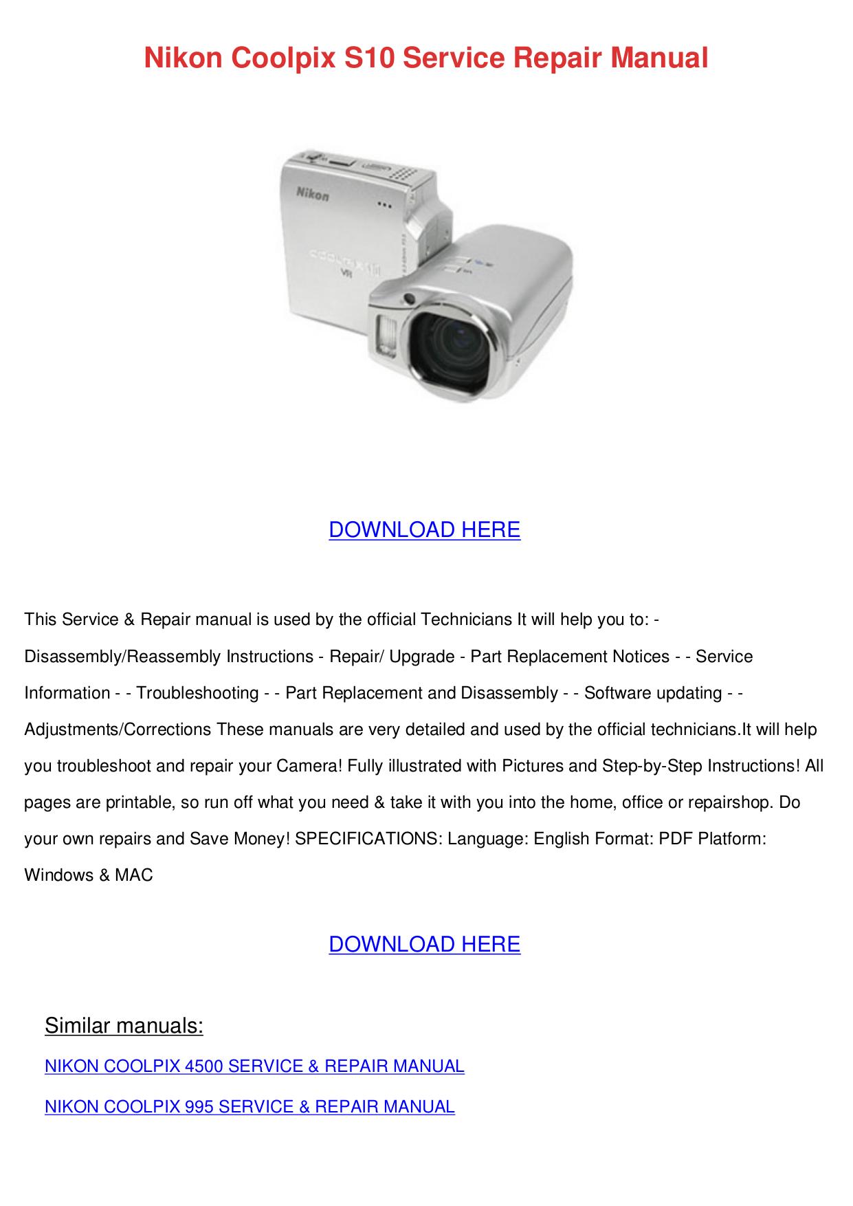 Nikon coolpix s10 camera download instruction manual pdf.