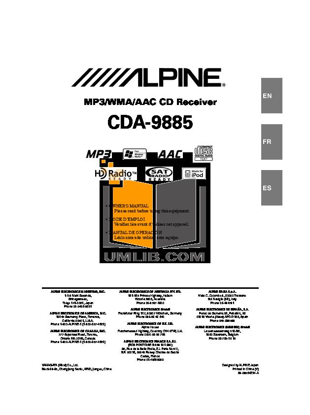 download free pdf for alpine cda 9885 car receiver manual rh umlib com alpine cda 9855 manual pdf alpine cda-9885r manual