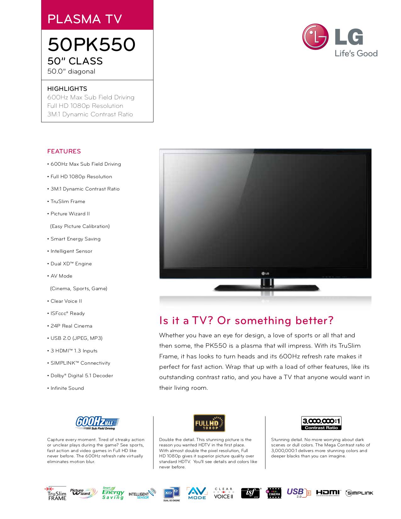 pdf for LG TV 50PK550 manual