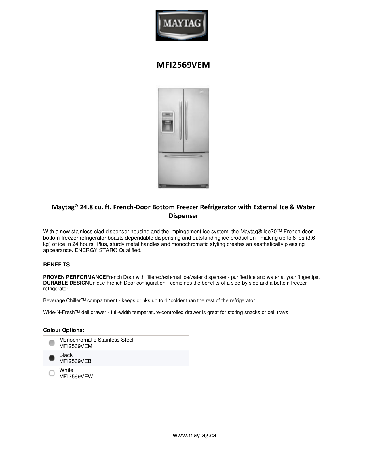 Download Free Pdf For Maytag Mfi2569vem Refrigerator Manual Schematic