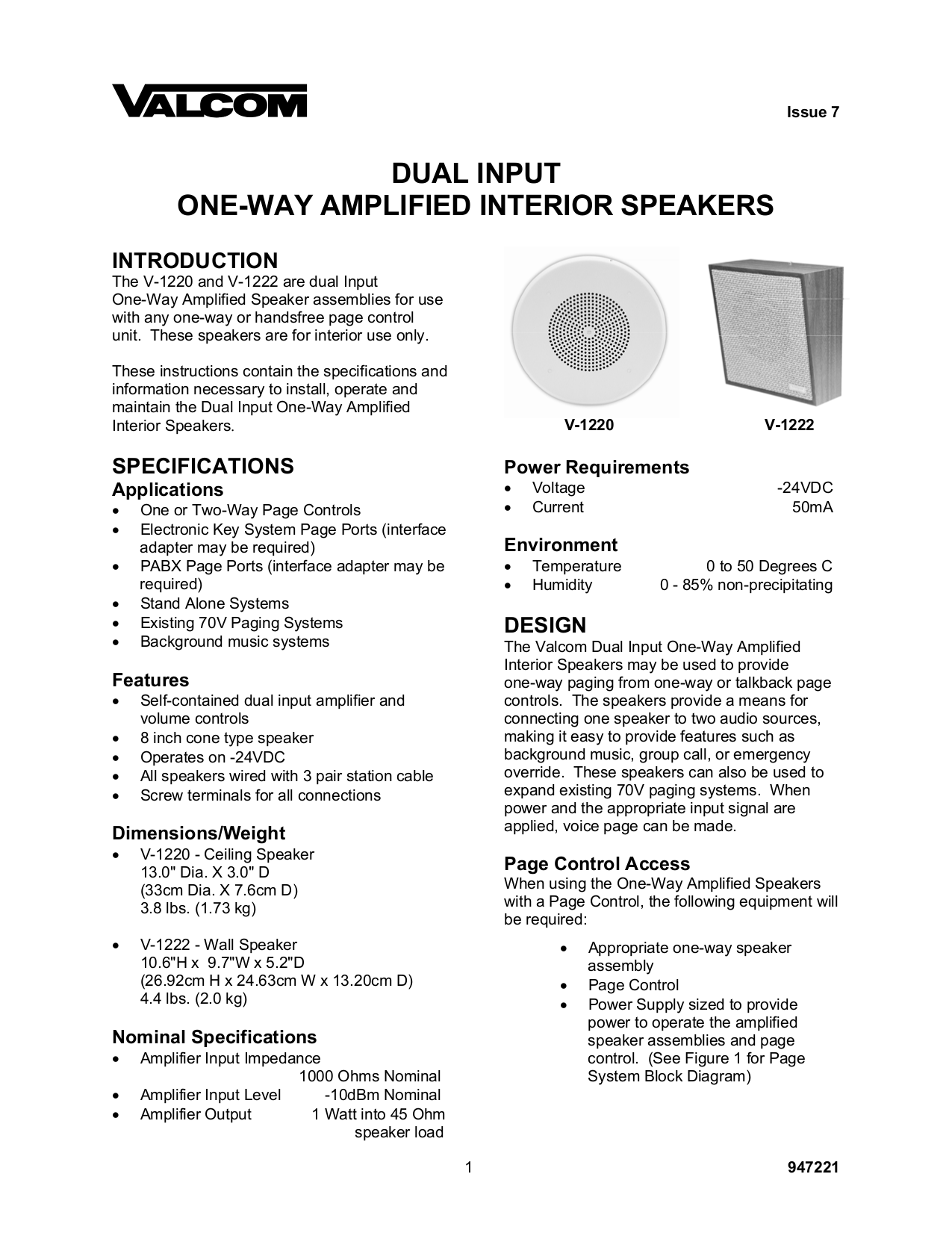 pdf for Valcom Speaker V1220 manual