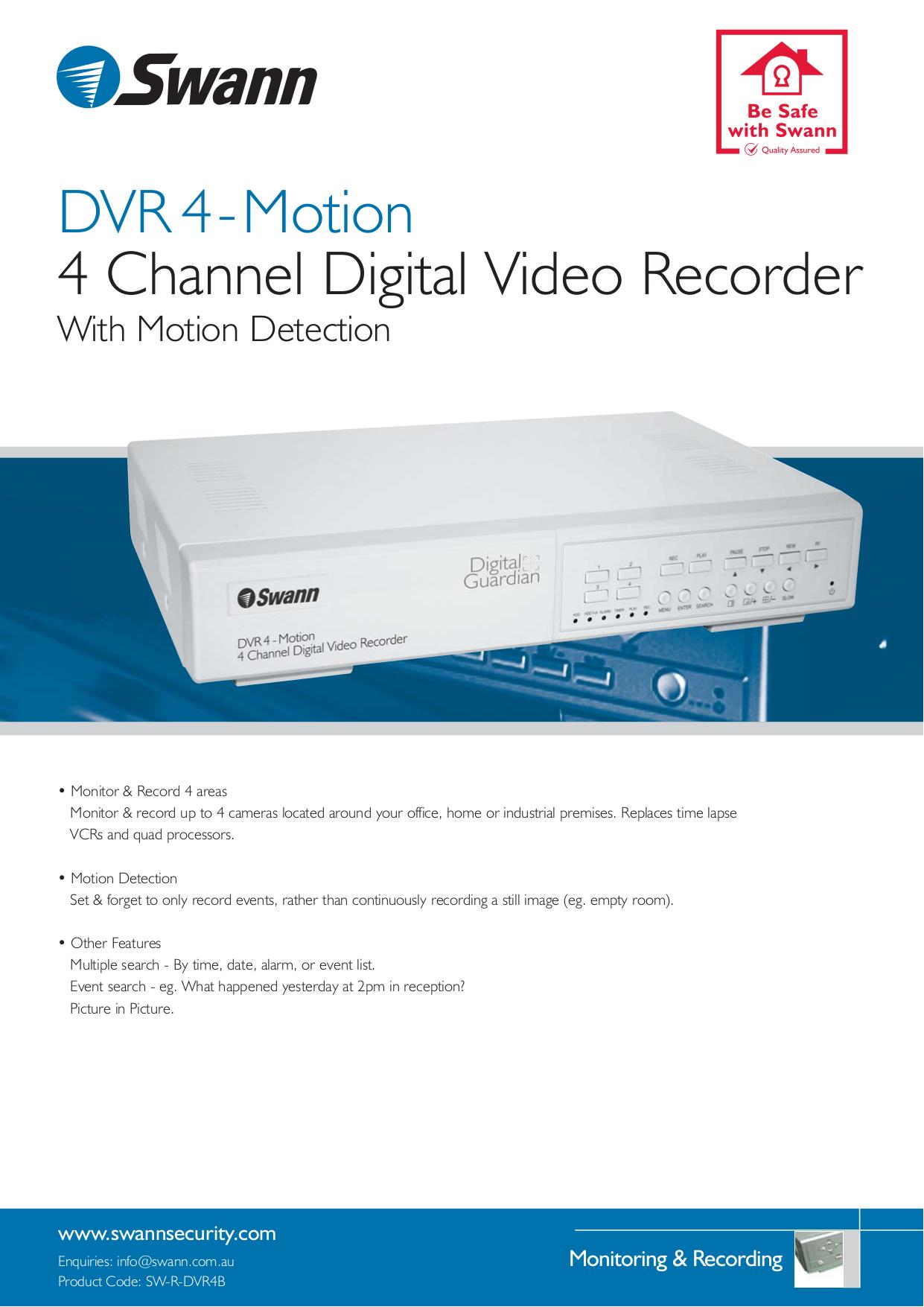 Download free pdf for Swann SW-R-DVR4 DVR manual