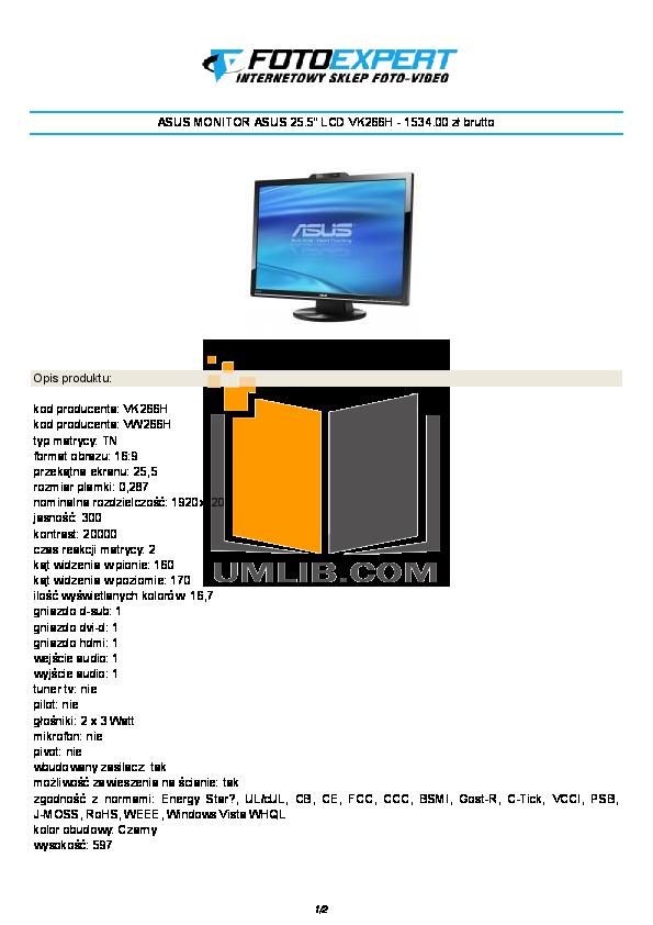 pdf for Asus Monitor VK266H manual