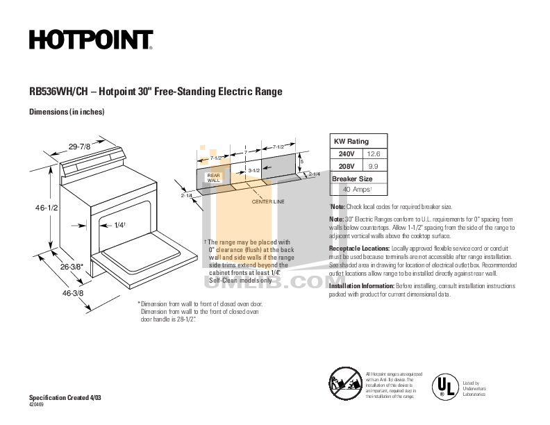 pdf for Hotpoint Range RB536CHCC manual