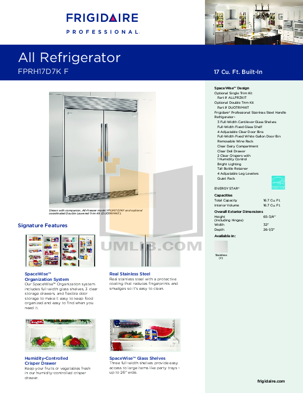 pdf for Frigidaire Refrigerator FPRH17D7K manual
