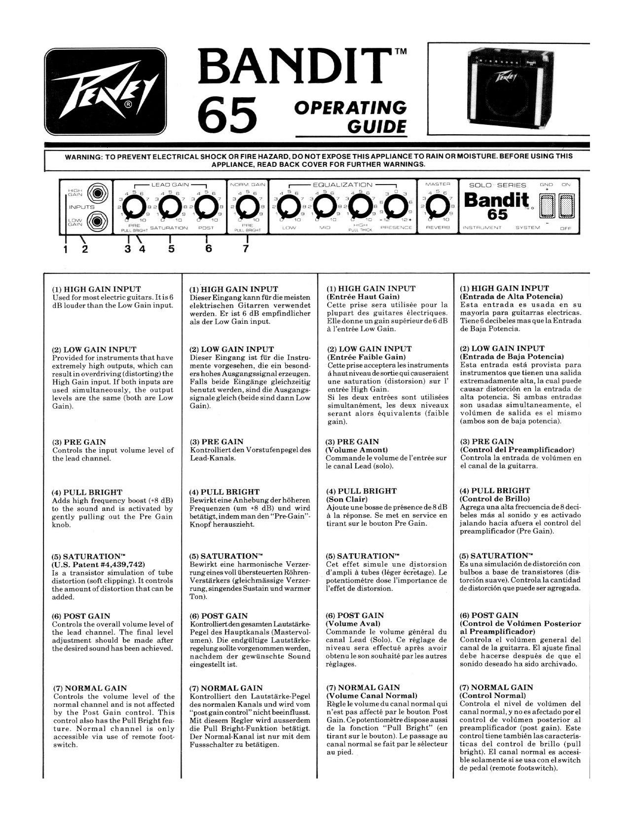 Download free pdf for Peavey Bandit 65 Amp manual