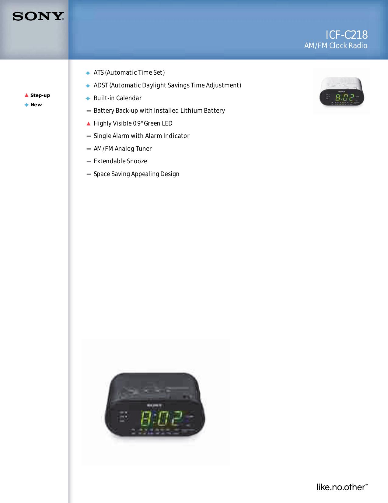 Download Free Pdf For Sony Icf C218 Clock Radio Manual