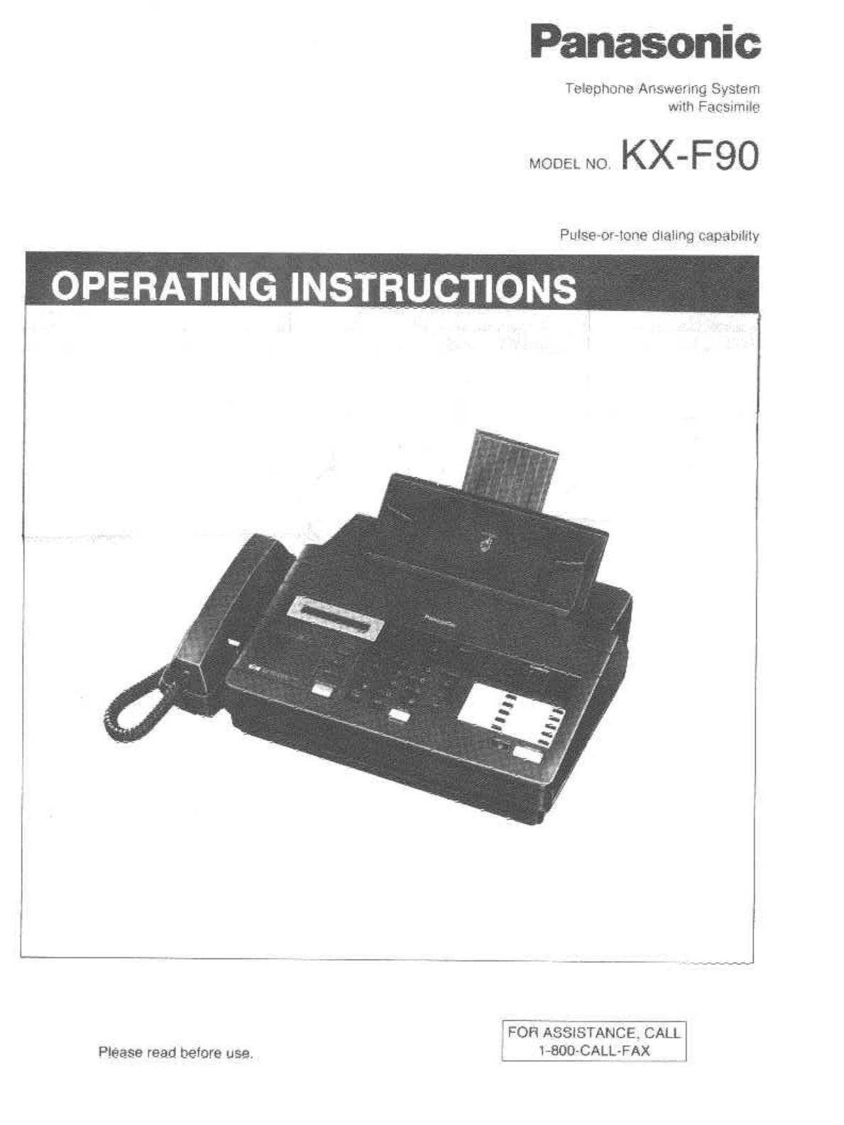 Инструкция факса panasonic kx f90