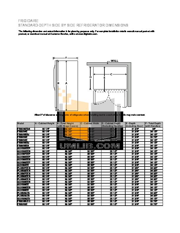 pdf for Frigidaire Refrigerator GLHS68EES manual