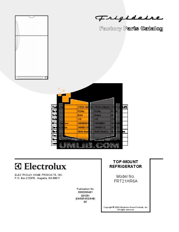 pdf for Frigidaire Refrigerator FRT21HR6AW5 manual