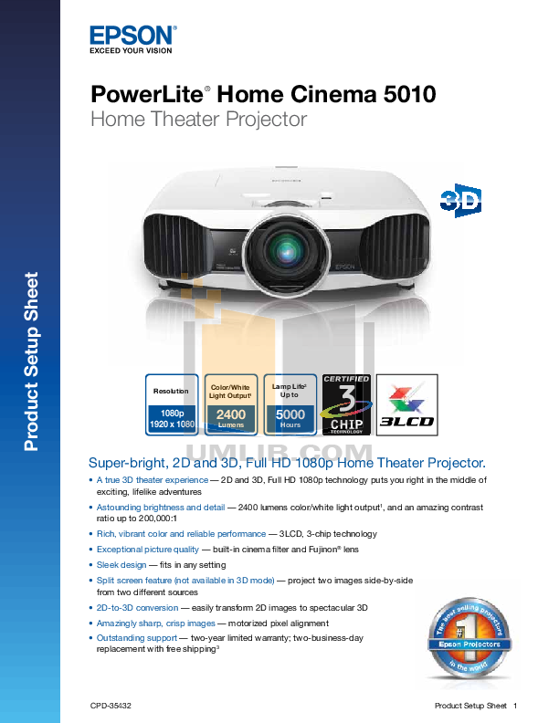 pdf for Epson Projector PowerLite 5010 manual