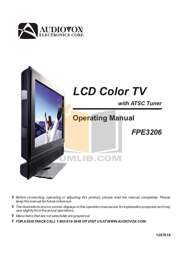 pdf for Audiovox TV FPE3206 manual