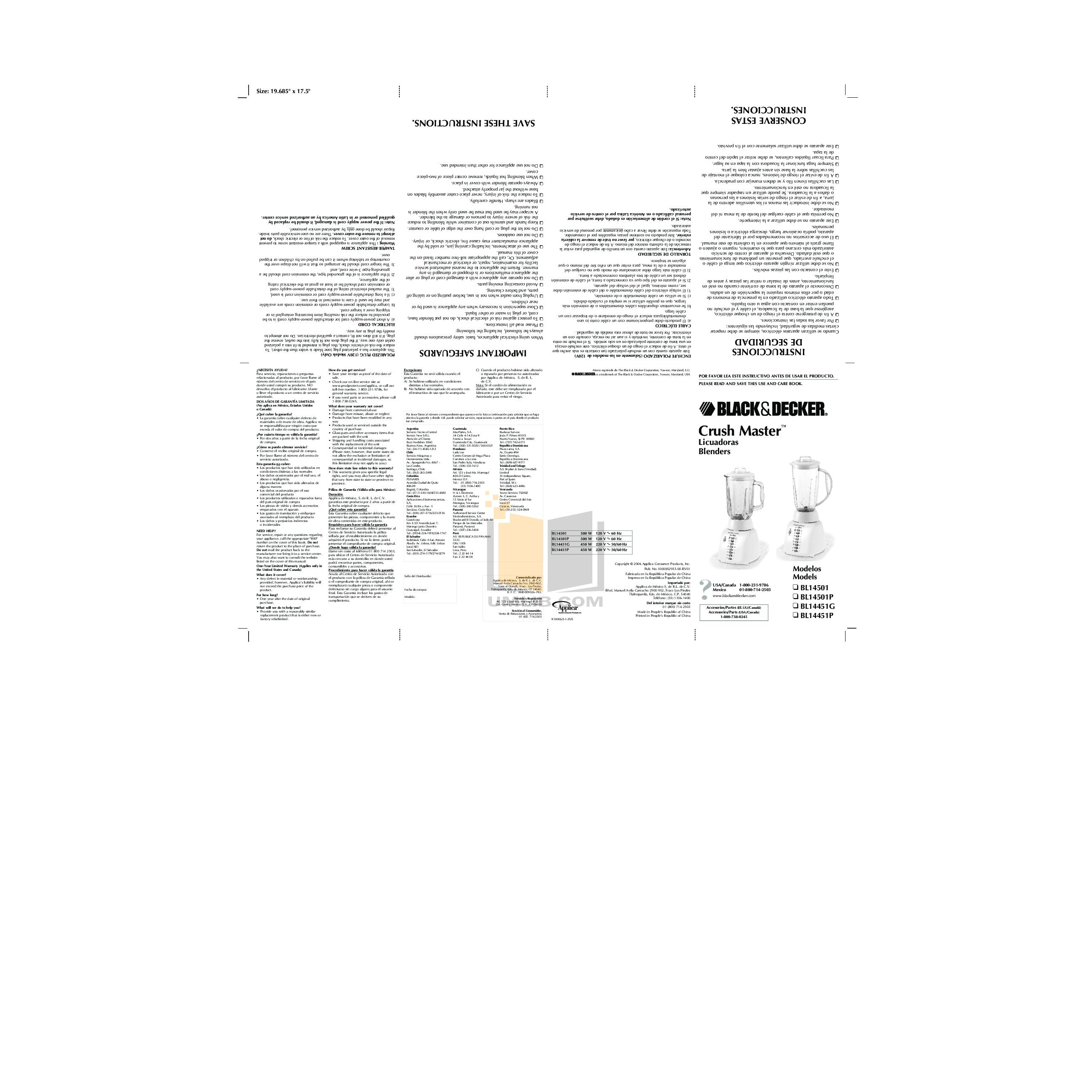 pdf for BlackAndDecker Blender BL14451P manual